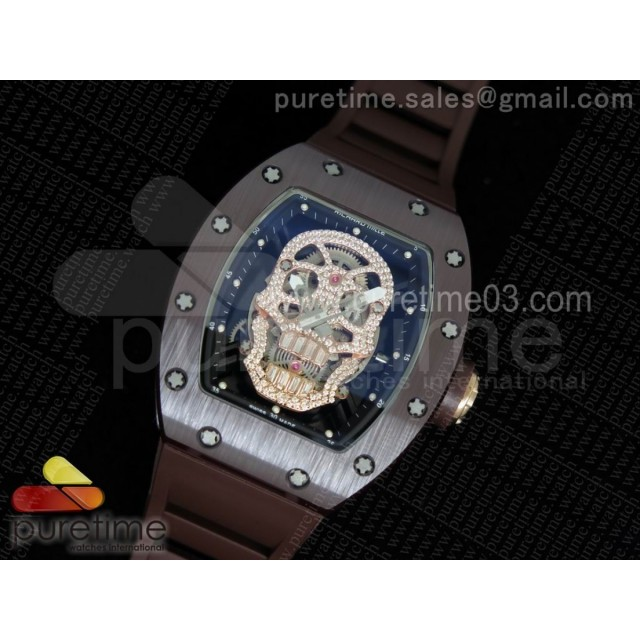 RM052 Brown Ceramic Full Paved Diamonds Skull Dial on Brown Rubber Strap MIYOTA8215