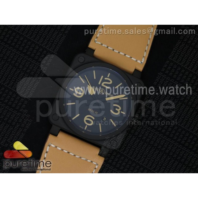 BR 03-92 Heritage PVD Black Dial on Brown Leather Strap MIYOTA 9015