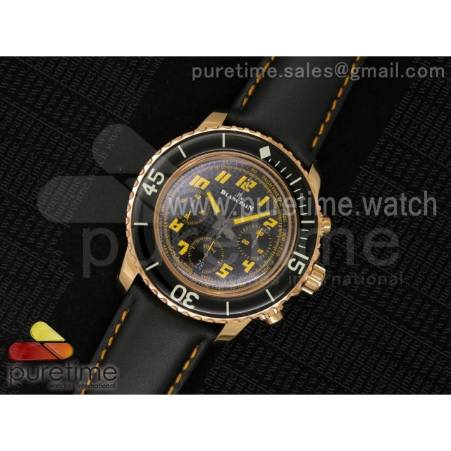 Fifty Fathoms Chrono RG Black Dial Yellow Arabic Numerals Marker on Black Leather Strap A7750