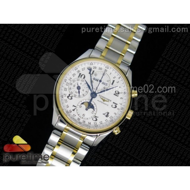 Master Moonphase Chronograph SS/YG 40mm White Textured Dial on SS/YG Bracelet A7751