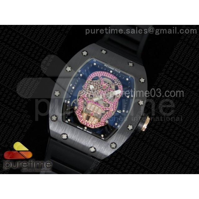 RM052 Black Ceramic Full Paved Pink Diamonds Skull Dial on Black Rubber Strap MIYOTA8215