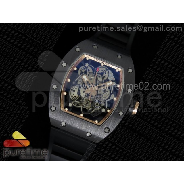 RM055 Black Ceramic RG Inner Bezel Skeleton Dial on Black Rubber Strap MIYOTA8215