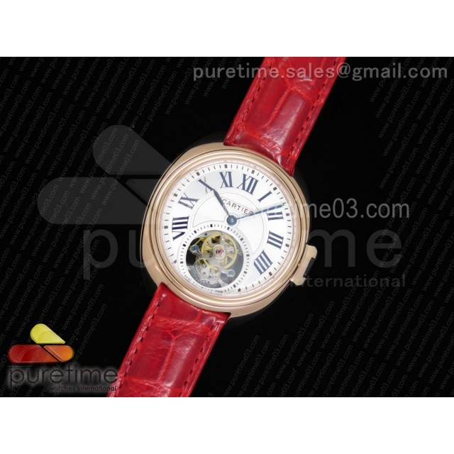 Cle de Cartier Tourbillon RG 35mm White Textured Dial on Red Croco Strap