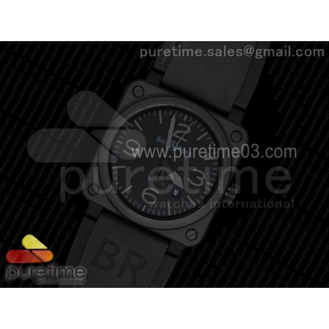 BR 03-92 PVD Black Dial Gray Markers on Black Rubber Strap MIYOTA 9015