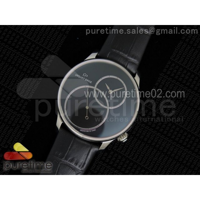 Grande Seconde Enamel Tilted SS Black Dial Style 2 on Black Leather Strap A23J V2