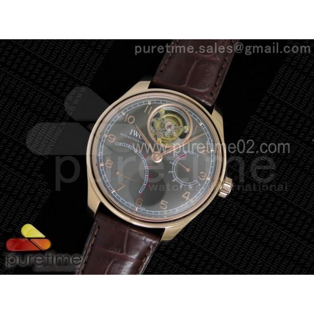 Portuguese Tourbillon IW5046 RG TF Best Edition Gray Dial on Brown Croco Leather Strap