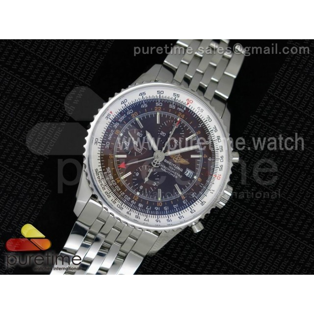 Navitimer GMT SS JF 1:1 Best Edition Brown Dial on SS Bracelet A7750