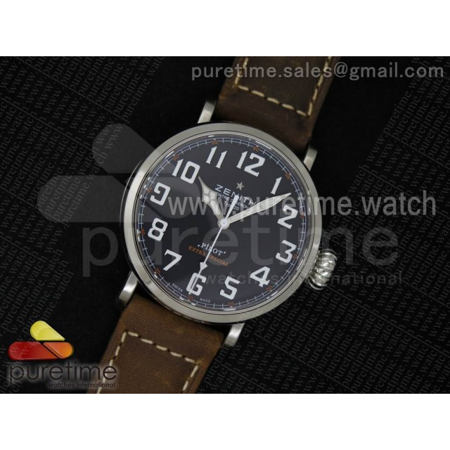 Pilot Type 20 Extra Special SS 45mm Black Dial on Brown Asso Strap A23J