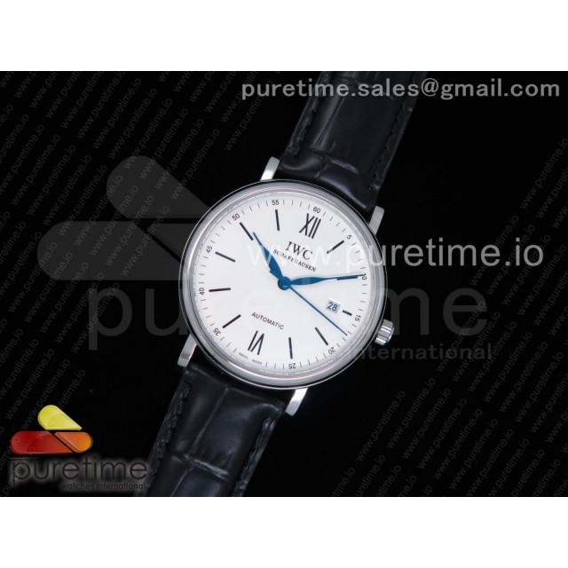 "Portofino Automatic Edition ""150 Years"" White Dial on Black Leather Strap MIYOTA 8215"