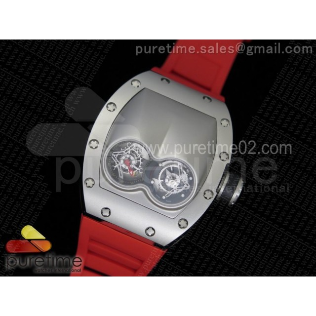 RM053 SS Fake Tourbillon Skeleton Dial on Red Rubber Strap A2824
