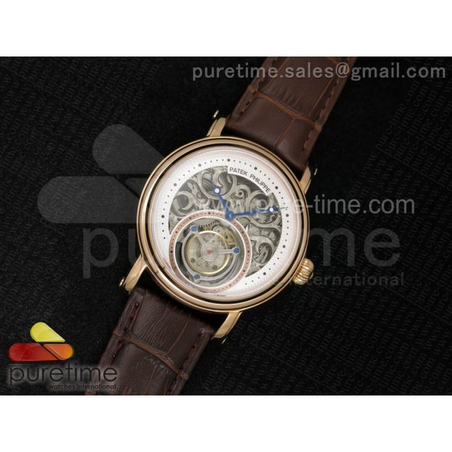 Classic Tourbillon RG AXF White Skeleton Dial on Brown Leather Strap