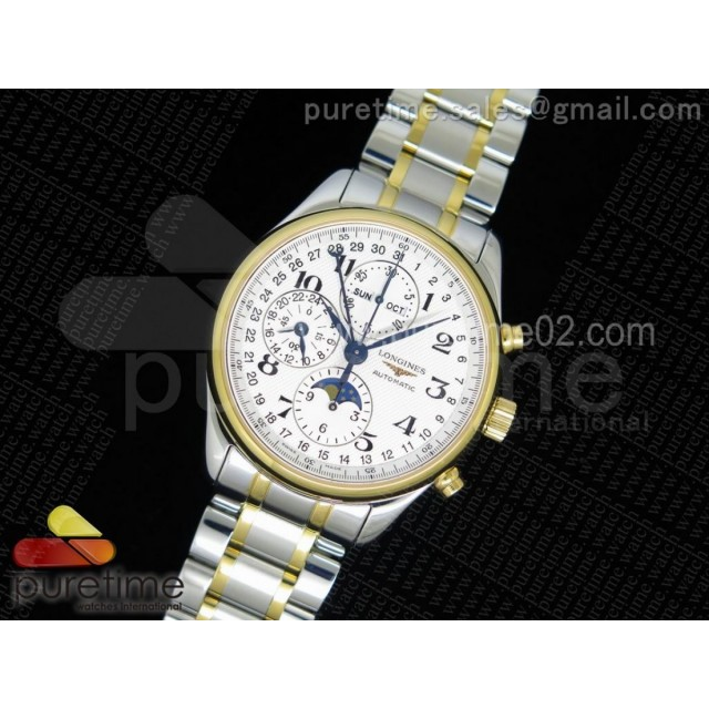 Master Moonphase Chronograph SS/YG YLF 1:1 Best Edition White Dial on SS/YG Bracelet A7751 (Free Leather Strap)