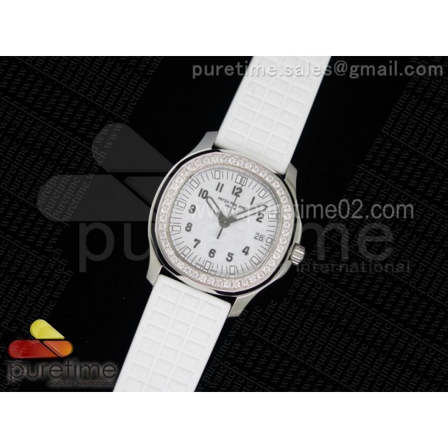Aquanaut Luce SS White Textured Dial on White Rubber Strap A23 Quartz
