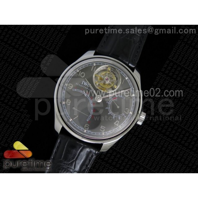 Portuguese Tourbillon IW5046 SS TF Best Edition Gray Dial on Black Croco Leather Strap