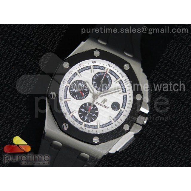 Royal Oak Offshore 44mm SS Lite White Dial on Black Rubber Strap A3126
