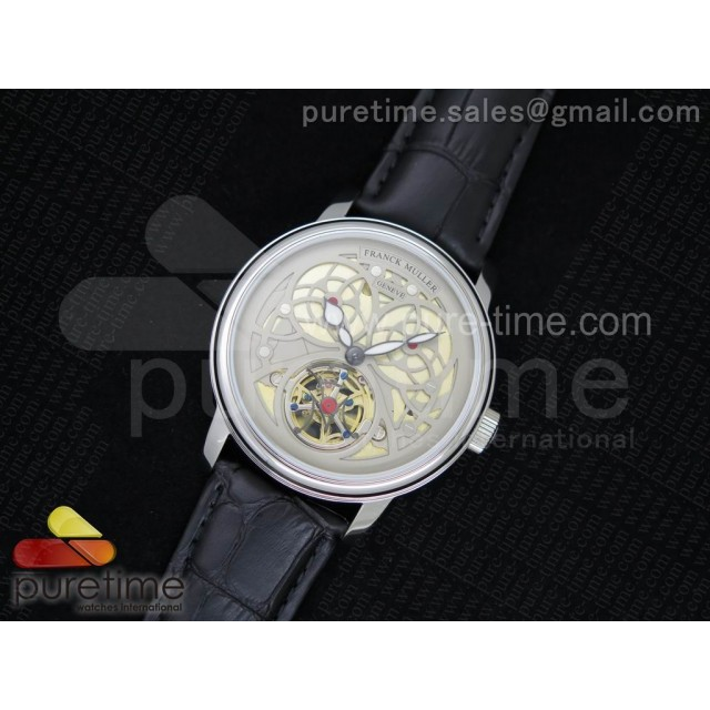 Giga Tourbillon SS White Skeleton Dial on Black Leather Strap A23J