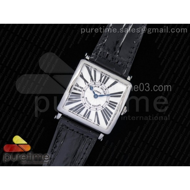 Master Square SS Ladies GF 1:1 Best Edition White Textured Dial on Black Leather Strap Swiss Quartz