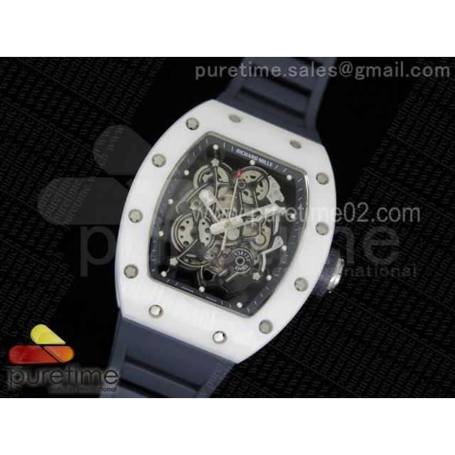 RM055 White Ceramic Gray Inner Bezel Skeleton Dial on Gray Rubber Strap MIYOTA8215