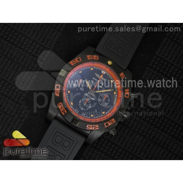 Chronomat Raven PVD Orange Inner Bezel Black Dial on Black Rubber Strap A7750