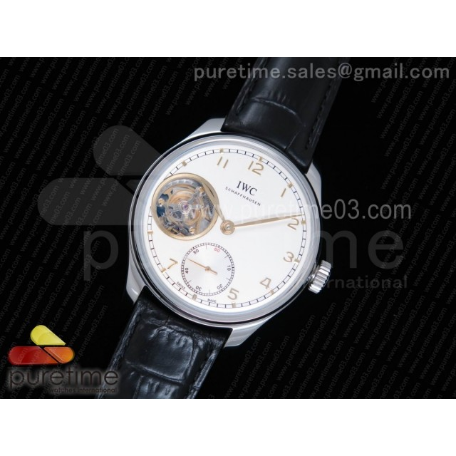 Portuguese Tourbillon IW5463 SS YLF Best Edition White Dial YG Markers on Black Leather Strap A98900