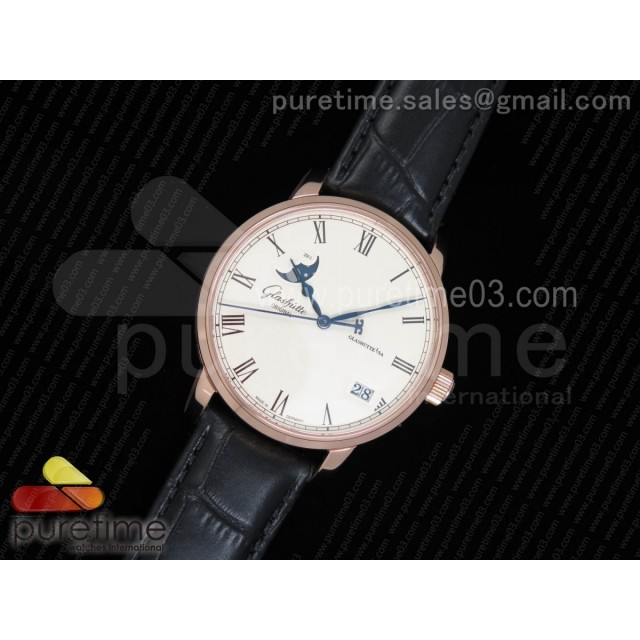 Excellence Panorama Date Moon Phase RG GF 1:1 Best Edition White Dial on Black Leather Strap A100