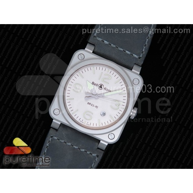 BR 03-92 Horolum Satin-polished Steel Gray Dial on Gray Leather Strap MIYOTA 9015 (Free Nylon Strap)