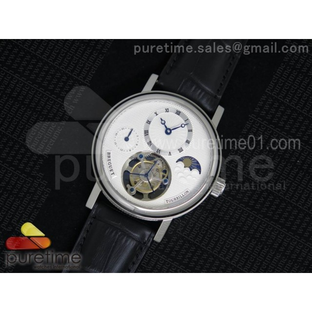 Classique Tourbillon Moonphase SS White Dial on Black Leather Strap