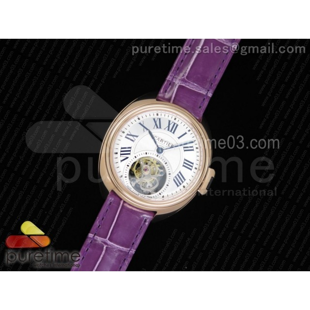 Cle de Cartier Tourbillon RG 35mm White Textured Dial on Purple Croco Strap