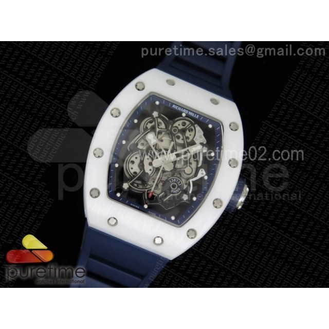 RM055 White Ceramic Blue Inner Bezel Skeleton Dial on Blue Rubber Strap MIYOTA8215