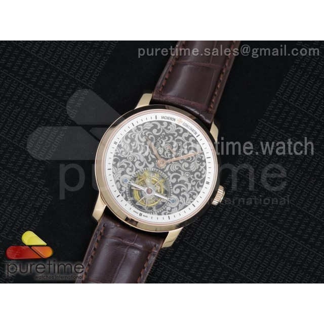 The Patrimony Tourbillon RG TF Best Edition White Inner Bezel Skeleton Dial on Brown Croco Leather Strap