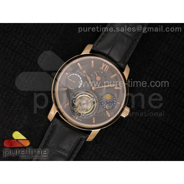 Patrimony Tourbillon Power Reserve RG AXF Gray Textured Dial on Black Leather Strap
