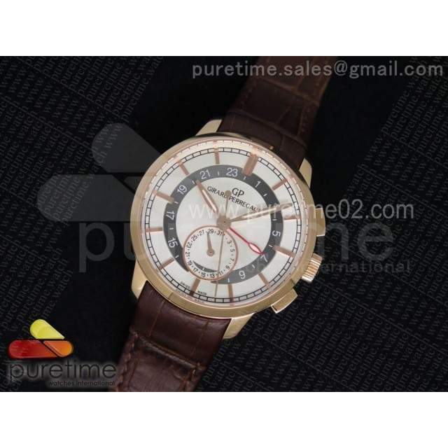 1966 Dual Time RG TF 1:1 Best Edition White Dial on Brown Leather Strap A3300