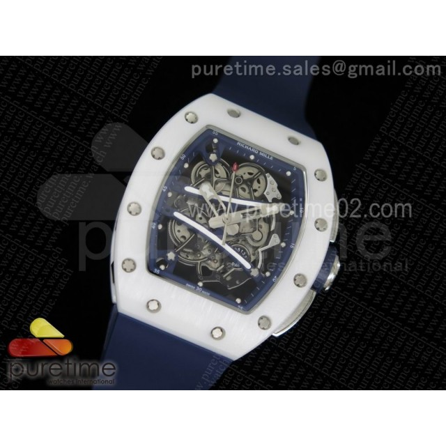 RM061 White Ceramic Blue Inner Bezel Skeleton Dial on Blue Rubber Strap MIYOTA8215