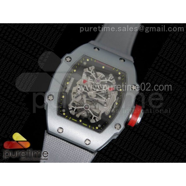 RM027 SS Skeleton Dial on Gray Nylon Strap 6T51