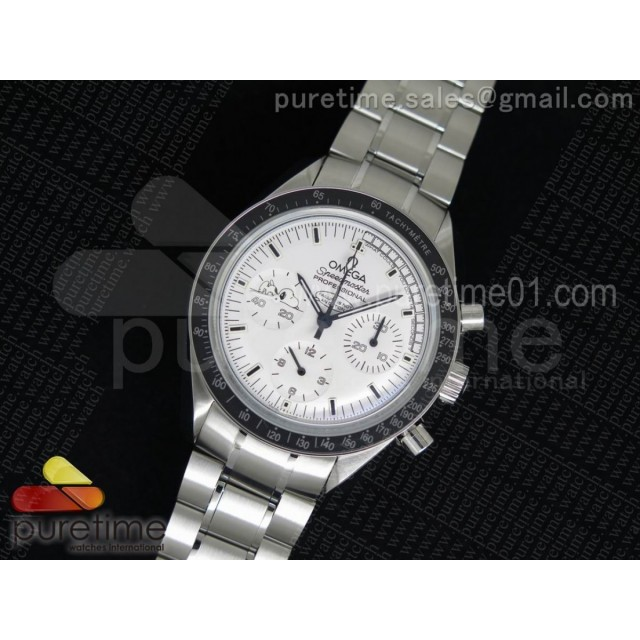 Speedmaster SS Snoopy White Dial on SS Bracelet Manual Winding Chrono Movement