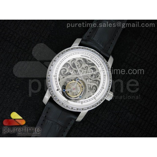 Patrimony Tourbillon SS AXF Diamonds Bezel Whtie Skeleton Dial on Black Leather Strap