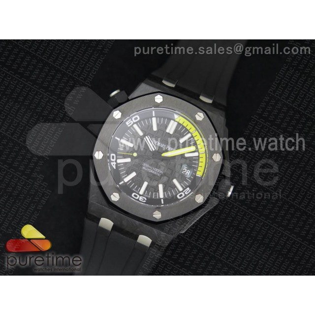 Royal Oak Offshore Diver Forged Carbon 1:1 JF Best Edition on Rubber Strap A3120 V5