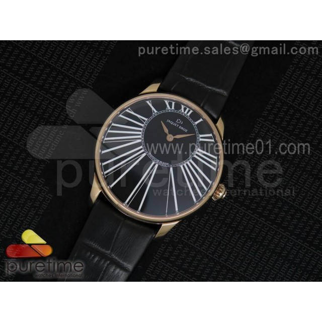 Petite Heure Minute RG Black Dial on Black Leather Strap A23J