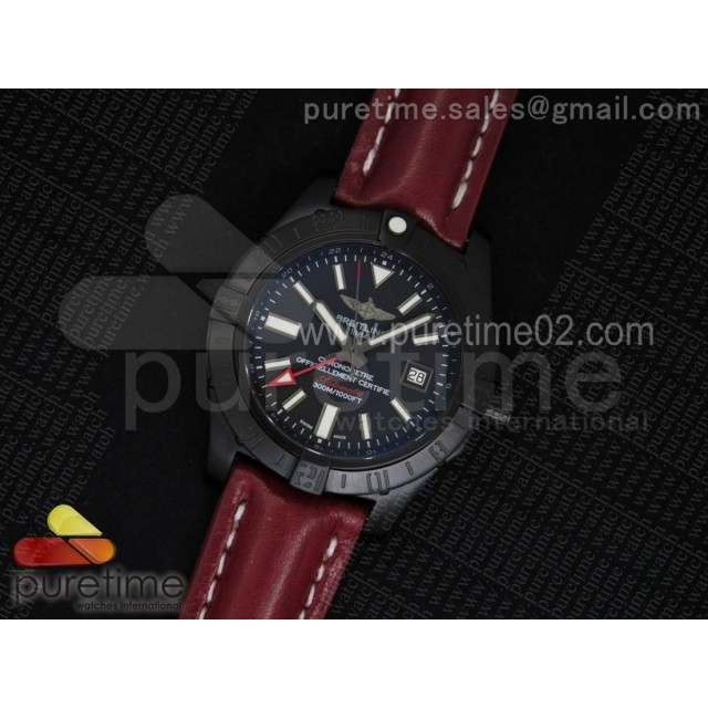 Avenger II GMT PVD Black Dial Rectangle Markers on Red Leather Strap A2836