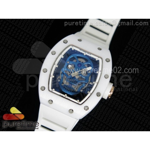 RM052 White Ceramic Blue Skull Dial on White Rubber Strap MIYOTA8215