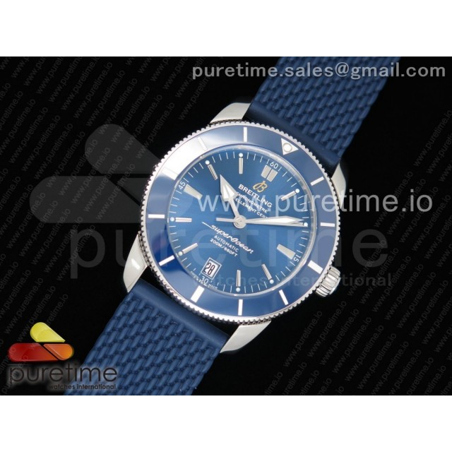 SuperOcean Heritage ii 42mm SS GF 1:1 Best Edition Blue Dial Blue Ceramic Bezel on Blue Rubber Strap MIYOTA 9015