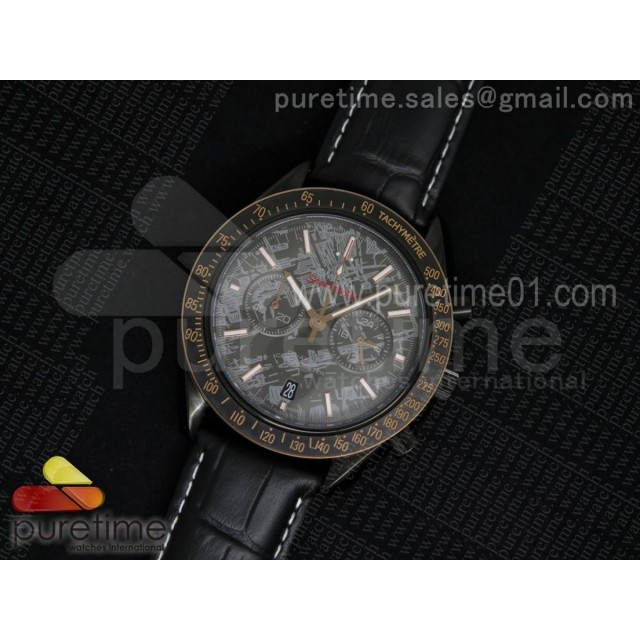 Speedmaster Co-Axial Chrono PVD Gray Textured Dial on Black Leather Strap Jap Quartz