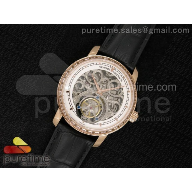 Patrimony Tourbillon RG AXF Diamonds Bezel Whtie Skeleton Dial on Black Leather Strap