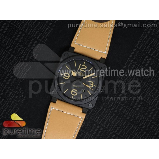 BR 03-92 Heritage PVD Black Dial on Brown Leather Strap MIYOTA 9015 V2