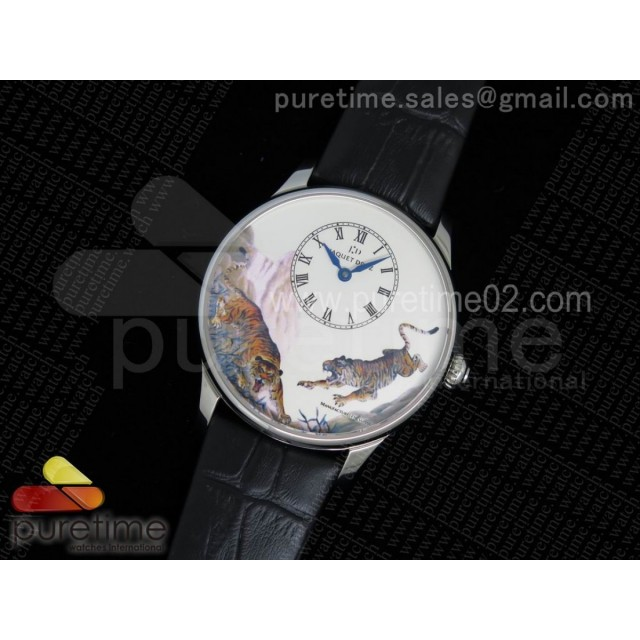 Petite Heure Minute SS Tiger Dial on Black Leather Strap A23J