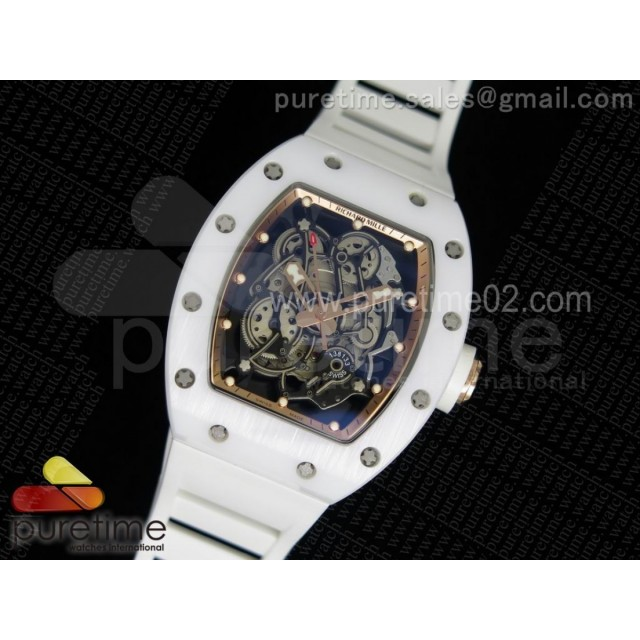 RM055 White Ceramic RG Inner Bezel Skeleton Dial on White Rubber Strap MIYOTA8215