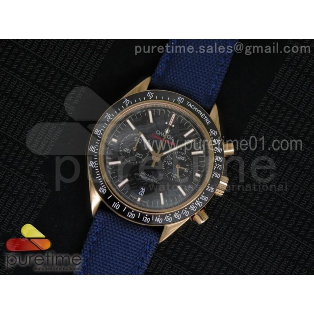 Speedmaster Co-Axial Chrono RG Black Textured Dial on Blue Nylon Strap Jap Quartz