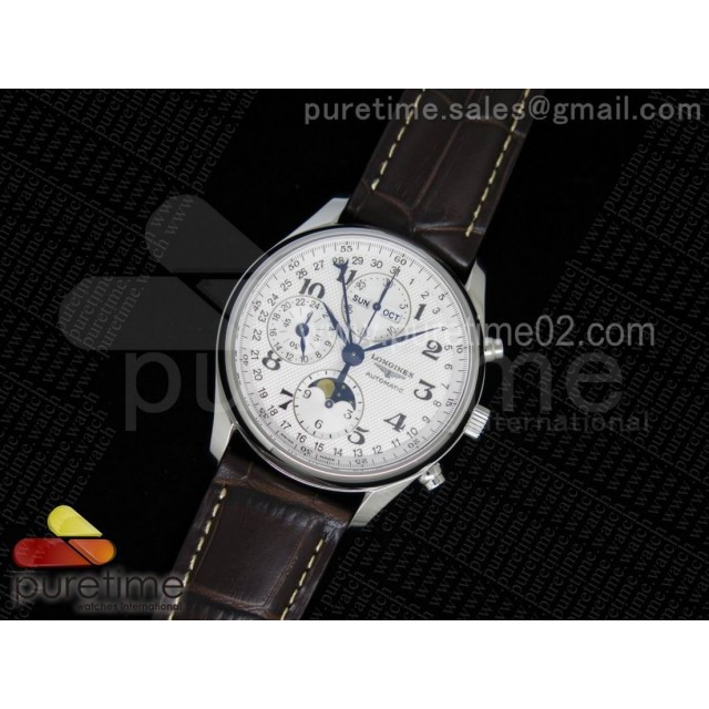 Master Moonphase Chronograph SS 40mm White Textured Dial on Black Leather Strap A7751