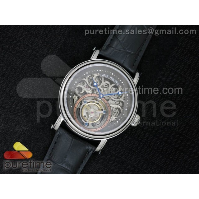 Classic Tourbillon SS AXF Gray Skeleton Dial on Black Leather Strap