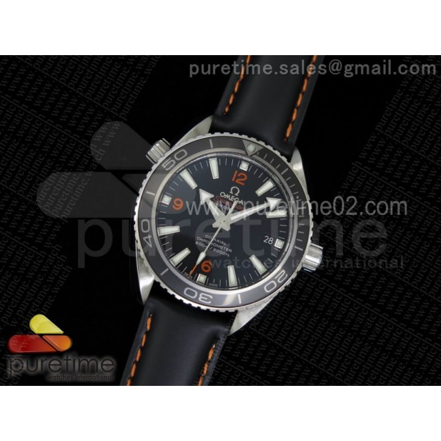 Planet Ocean Professional Ceramic/Orange Bezel 42mm 1:1 Noob Best Edition on Black Leather Strap A2836